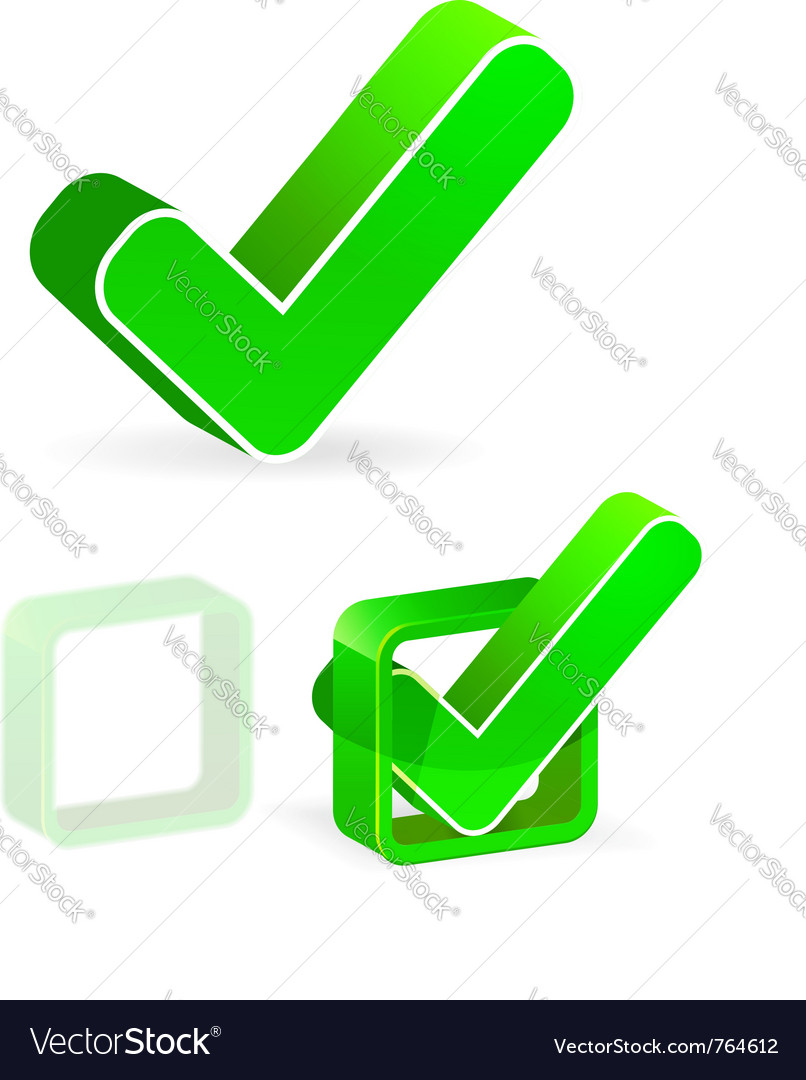Green check box with check mark vector | Price: 1 Credit (USD $1)