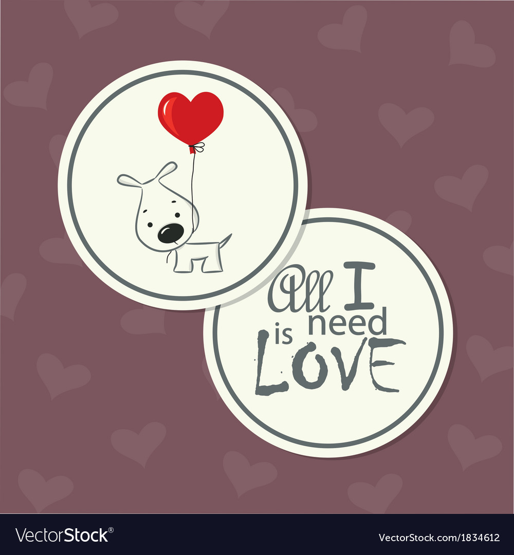 Love card dog with heart vector | Price: 1 Credit (USD $1)