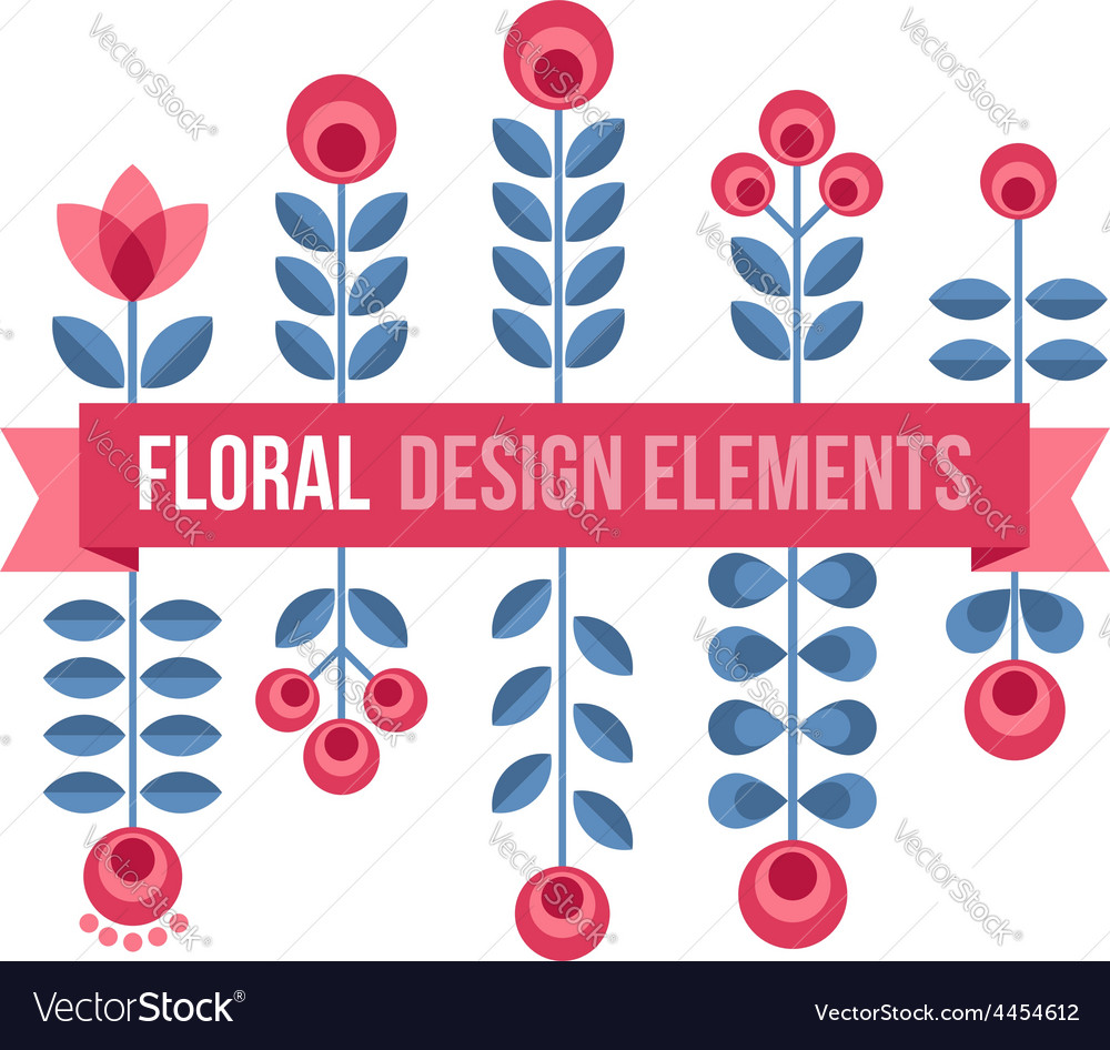 Set of design elements - retro flowers and ribbon vector | Price: 1 Credit (USD $1)