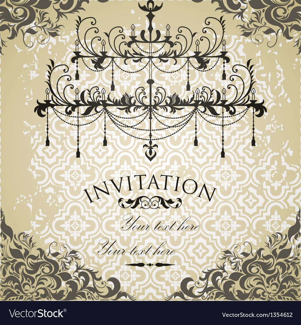 Vintage invitation on grungy paper for design vector | Price: 1 Credit (USD $1)