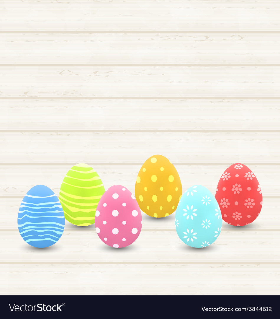 Wooden background with colorful traditional eggs vector | Price: 1 Credit (USD $1)