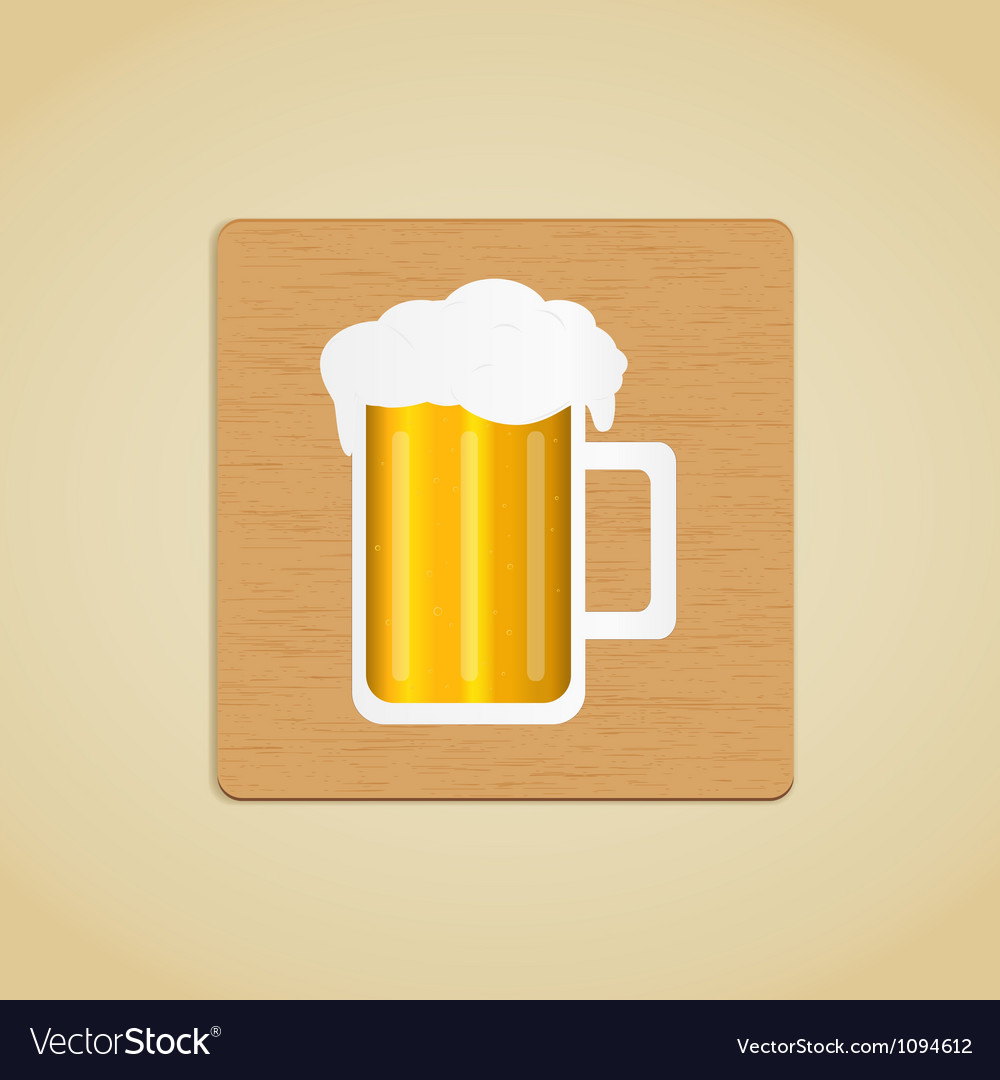 Wooden plate with beer icon vector | Price: 1 Credit (USD $1)