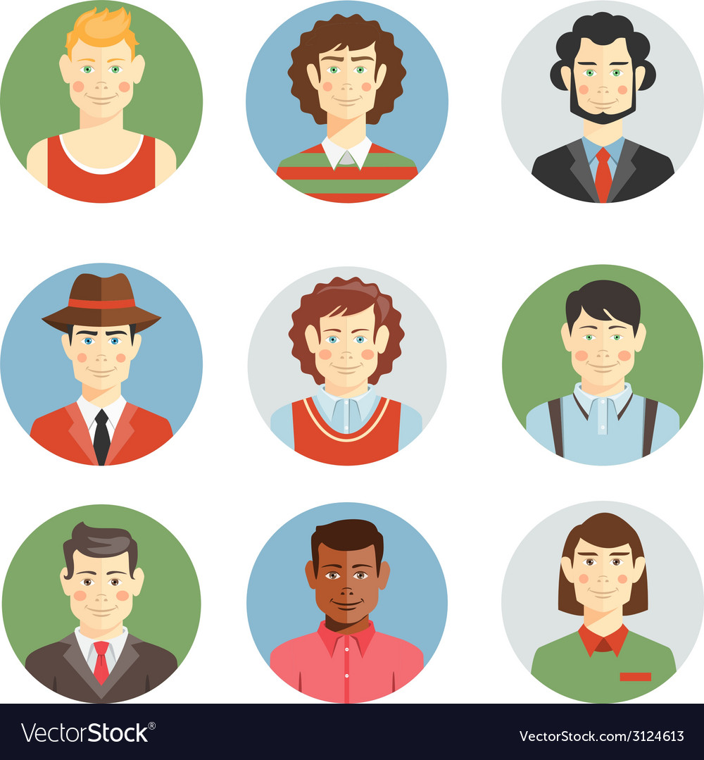 Boys and men faces icons in flat style vector | Price: 1 Credit (USD $1)