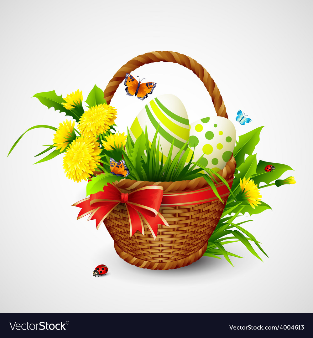 Easter card with basket eggs and flowers vector | Price: 3 Credit (USD $3)
