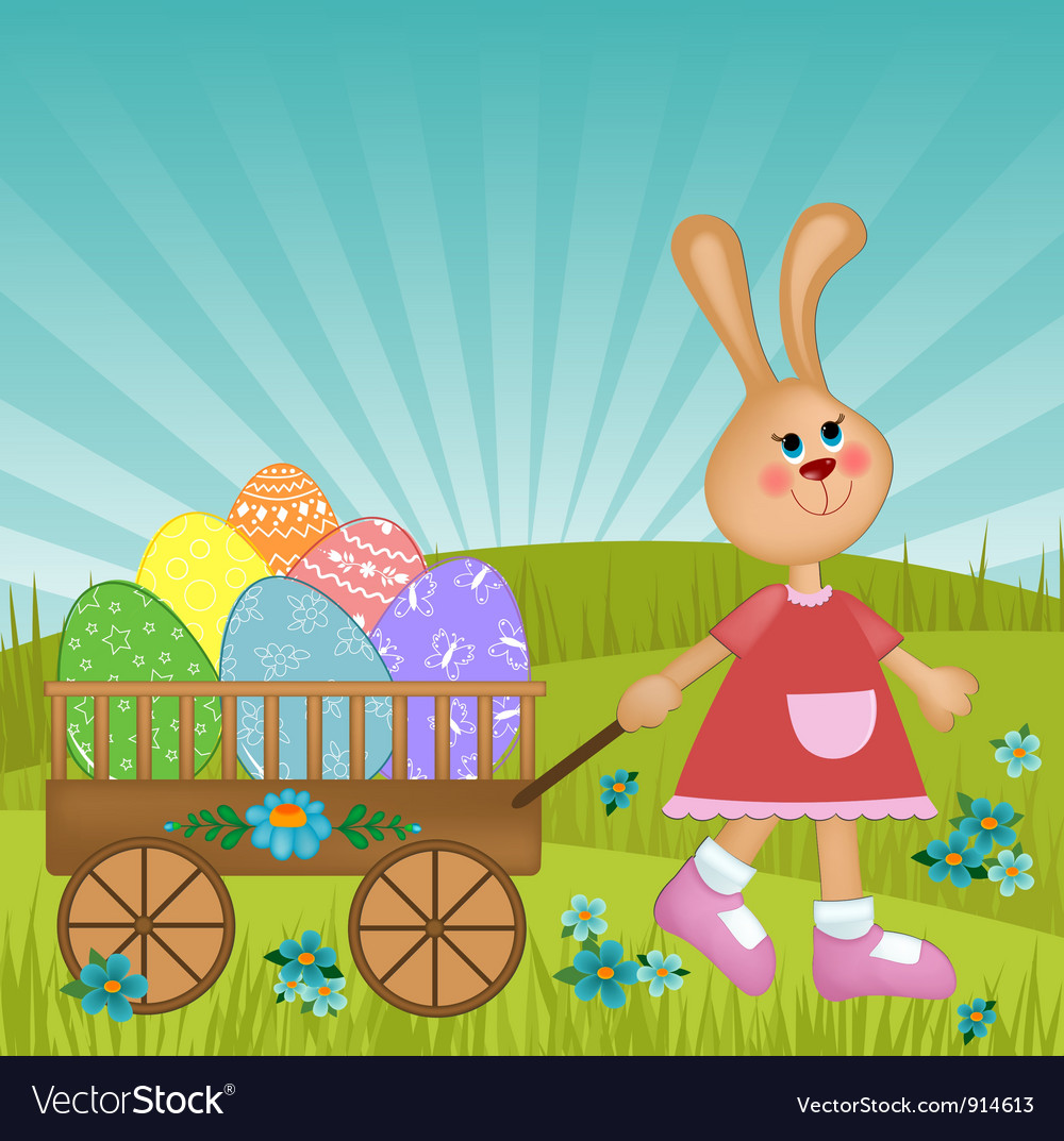 Easter greetings card with rabbit vector | Price: 1 Credit (USD $1)