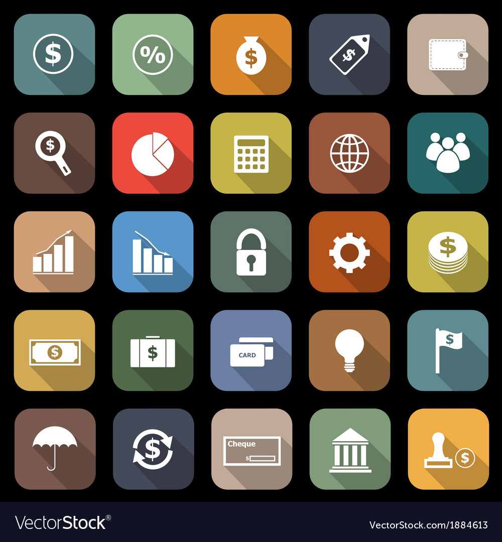 Finance flat icons with long shadow vector | Price: 1 Credit (USD $1)