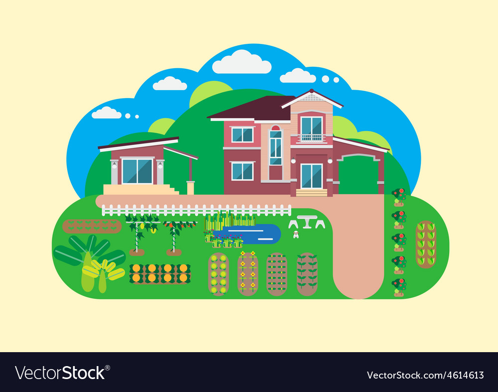 House and garden yard vector | Price: 1 Credit (USD $1)