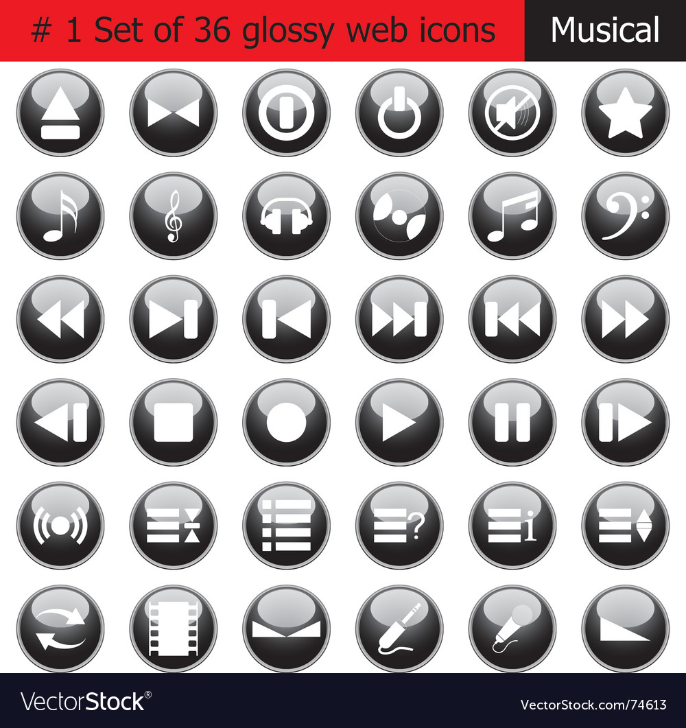 Music web icons vector | Price: 1 Credit (USD $1)