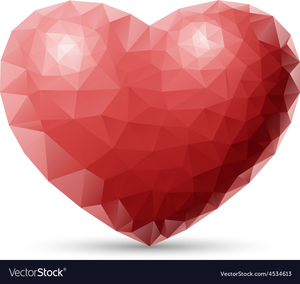 Red heart polygon vector | Price: 1 Credit (USD $1)