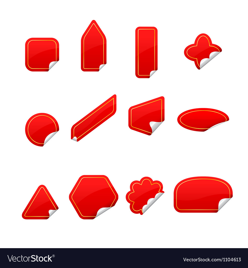 Red labels and ribbons set isolated on white vector | Price: 1 Credit (USD $1)