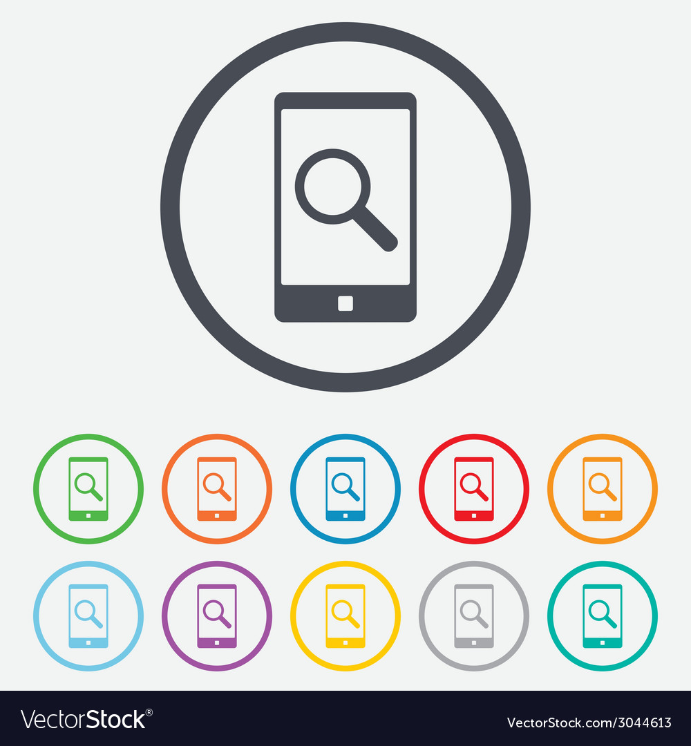 Search in smartphone sign icon find symbol vector | Price: 1 Credit (USD $1)