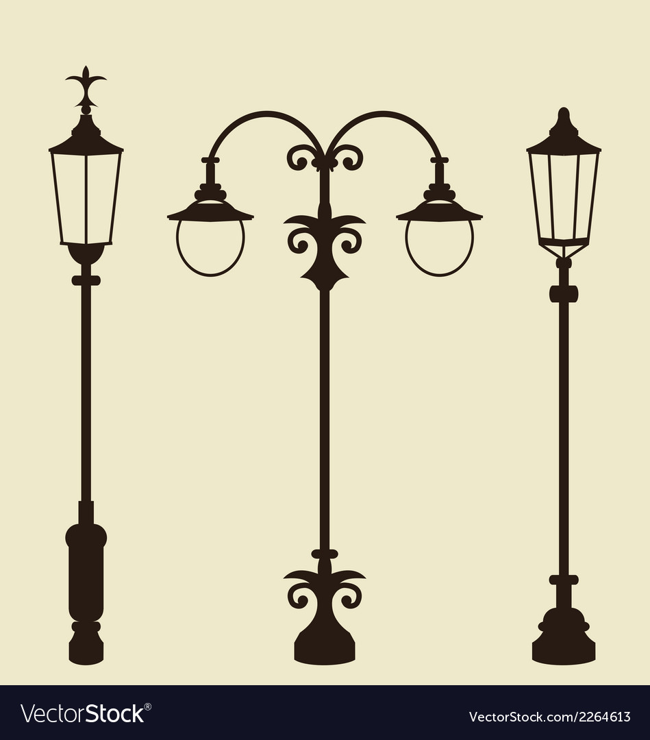 Set of vintage various forged lampposts vector | Price: 1 Credit (USD $1)