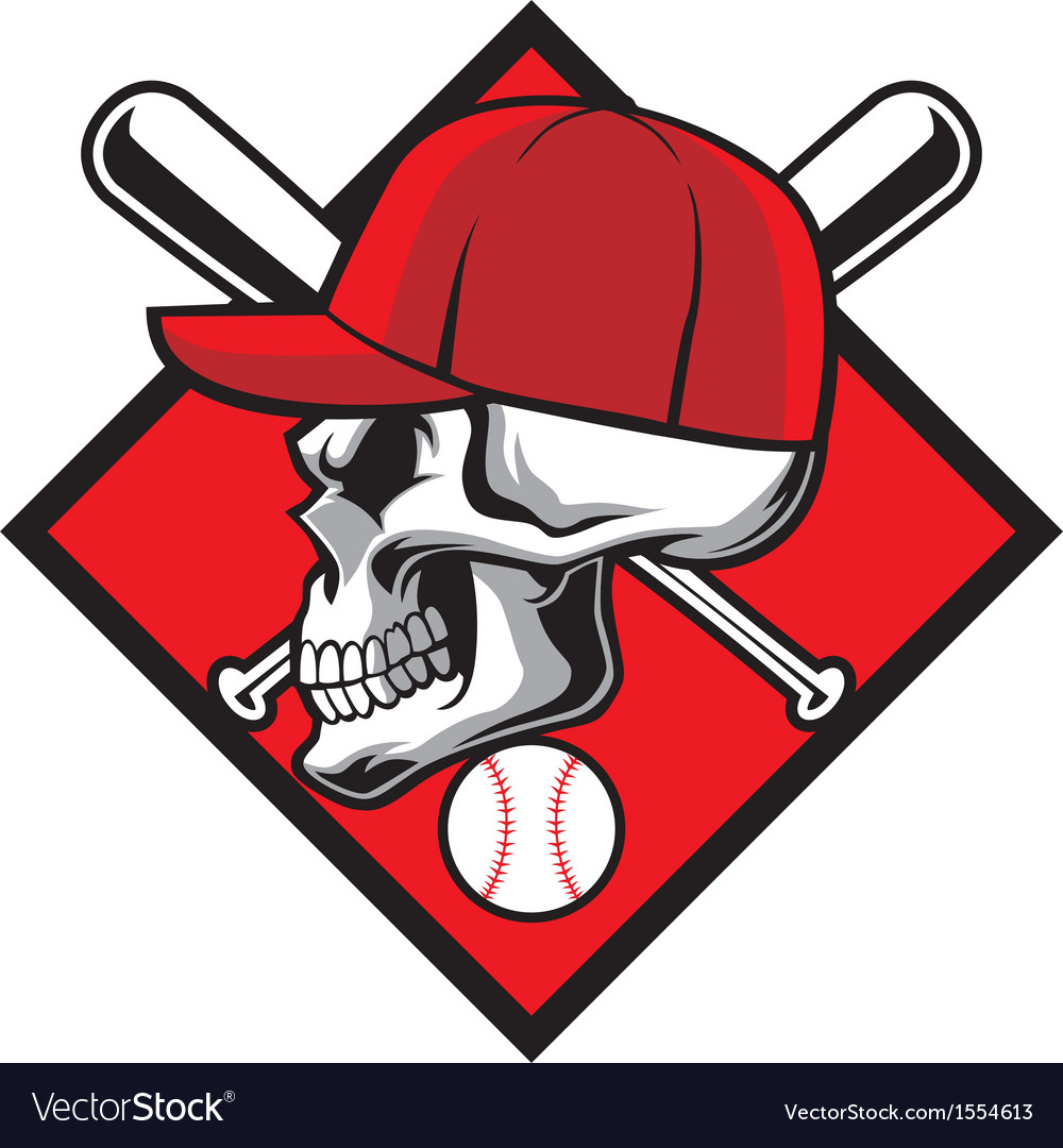 Skull wearing hat and crossed baseball bat vector | Price: 3 Credit (USD $3)