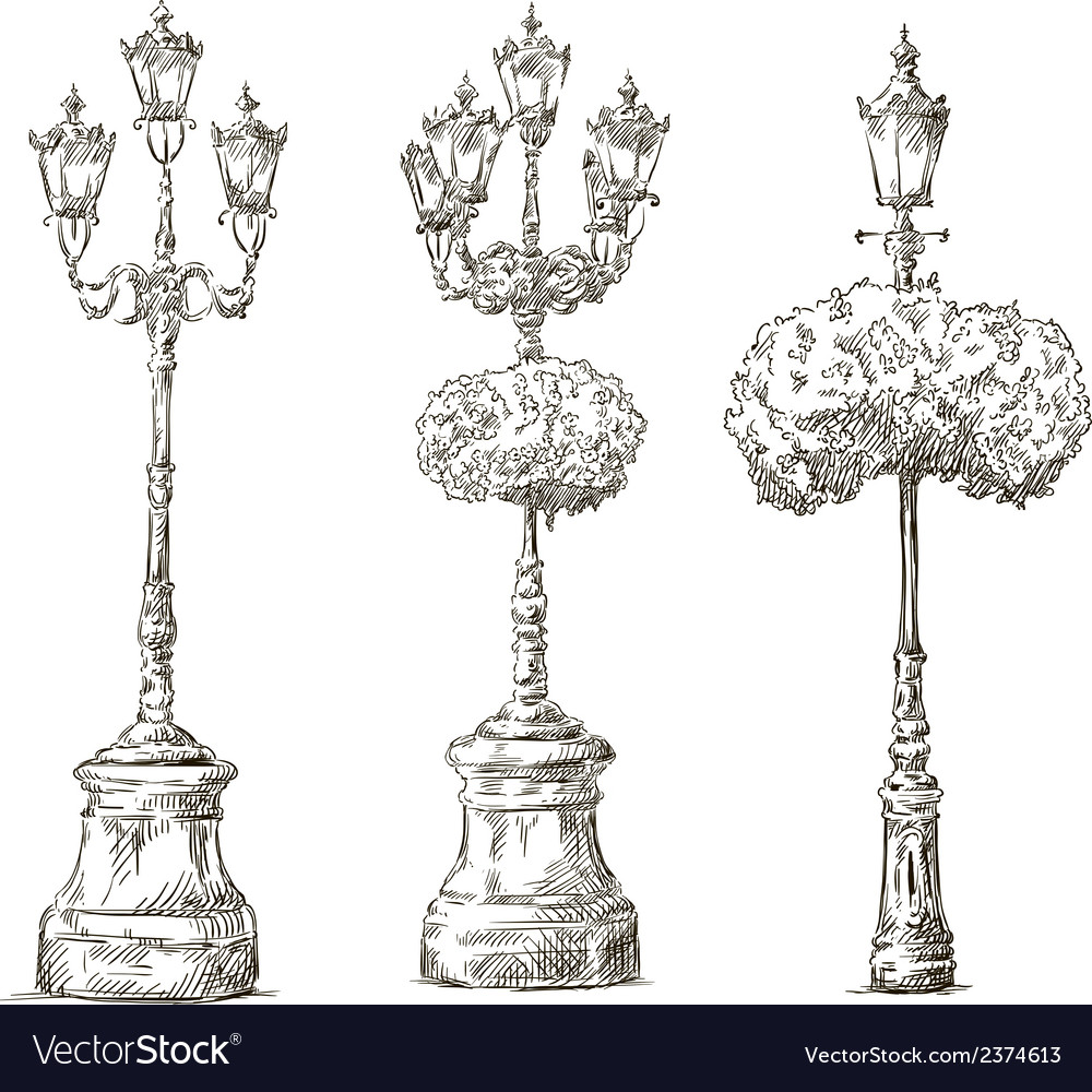 Street lamps lamp posts drawings sketch vector | Price: 1 Credit (USD $1)