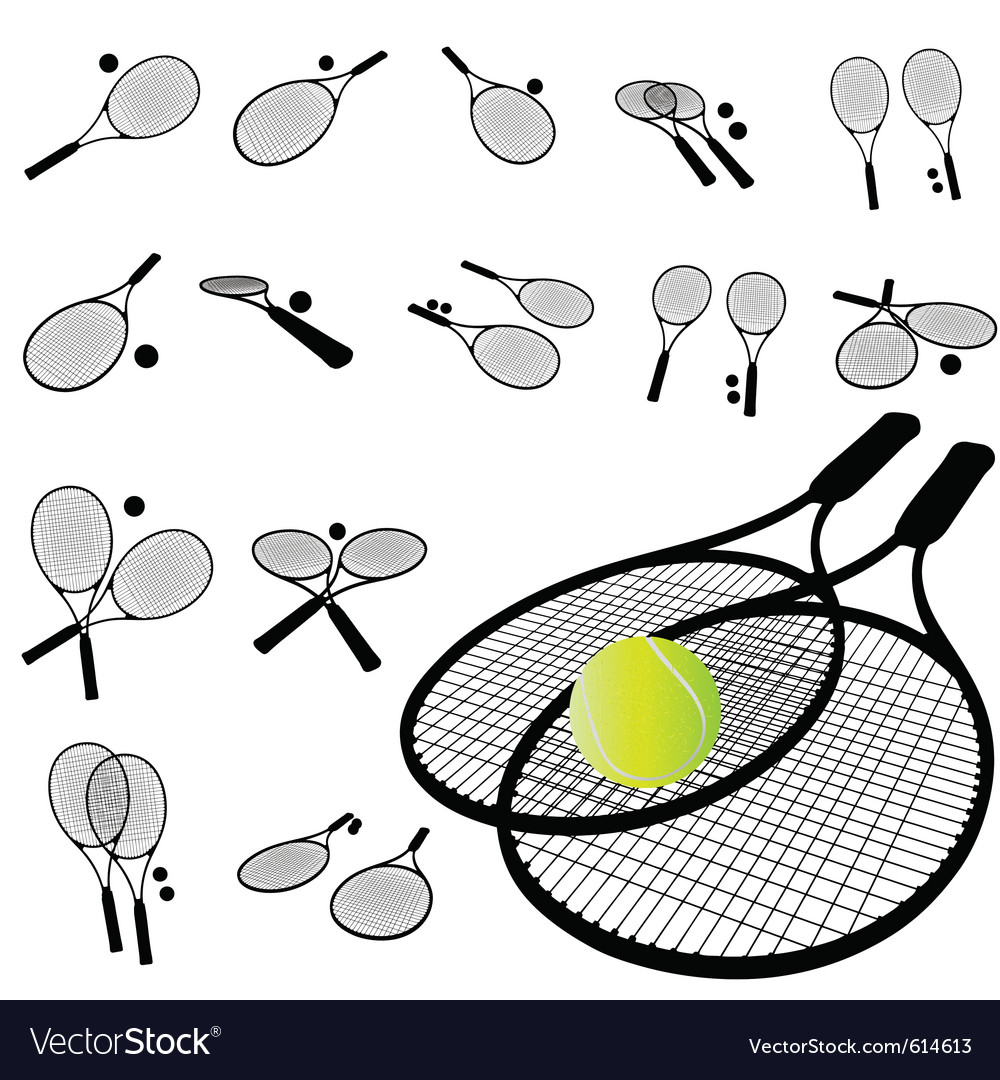 Tennis racket silhouette vector | Price: 1 Credit (USD $1)