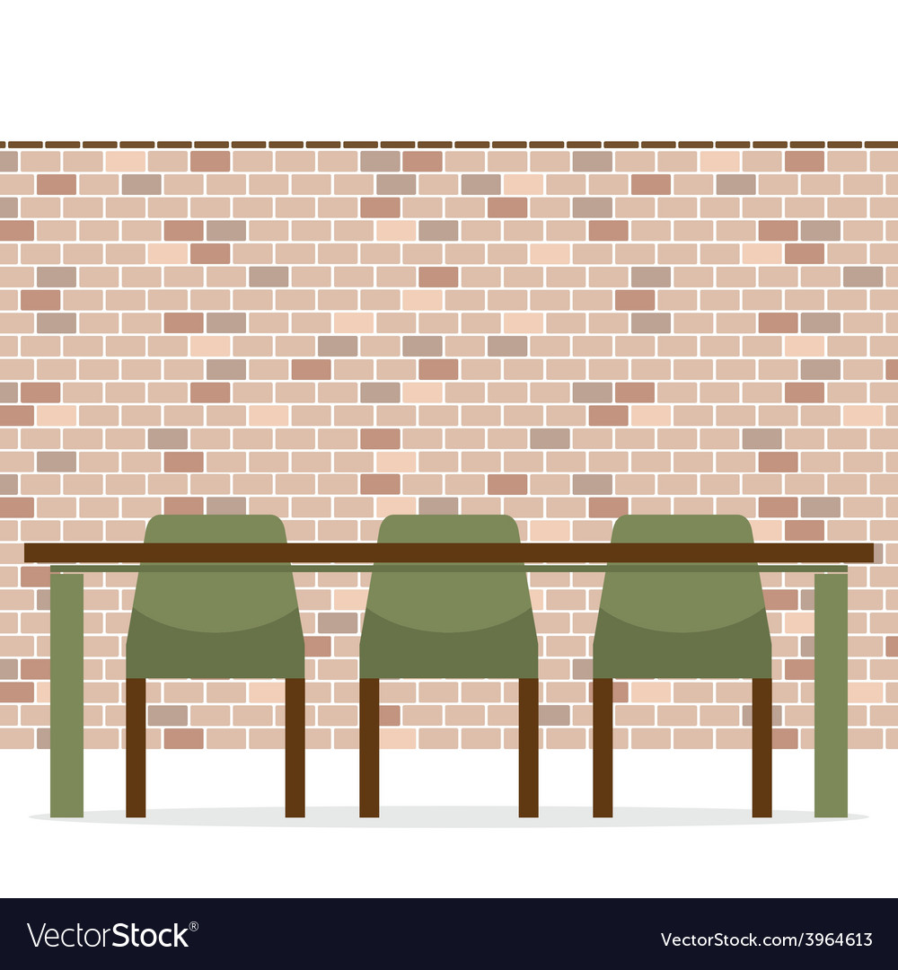 Three empty chairs with long table on brick wall vector | Price: 1 Credit (USD $1)