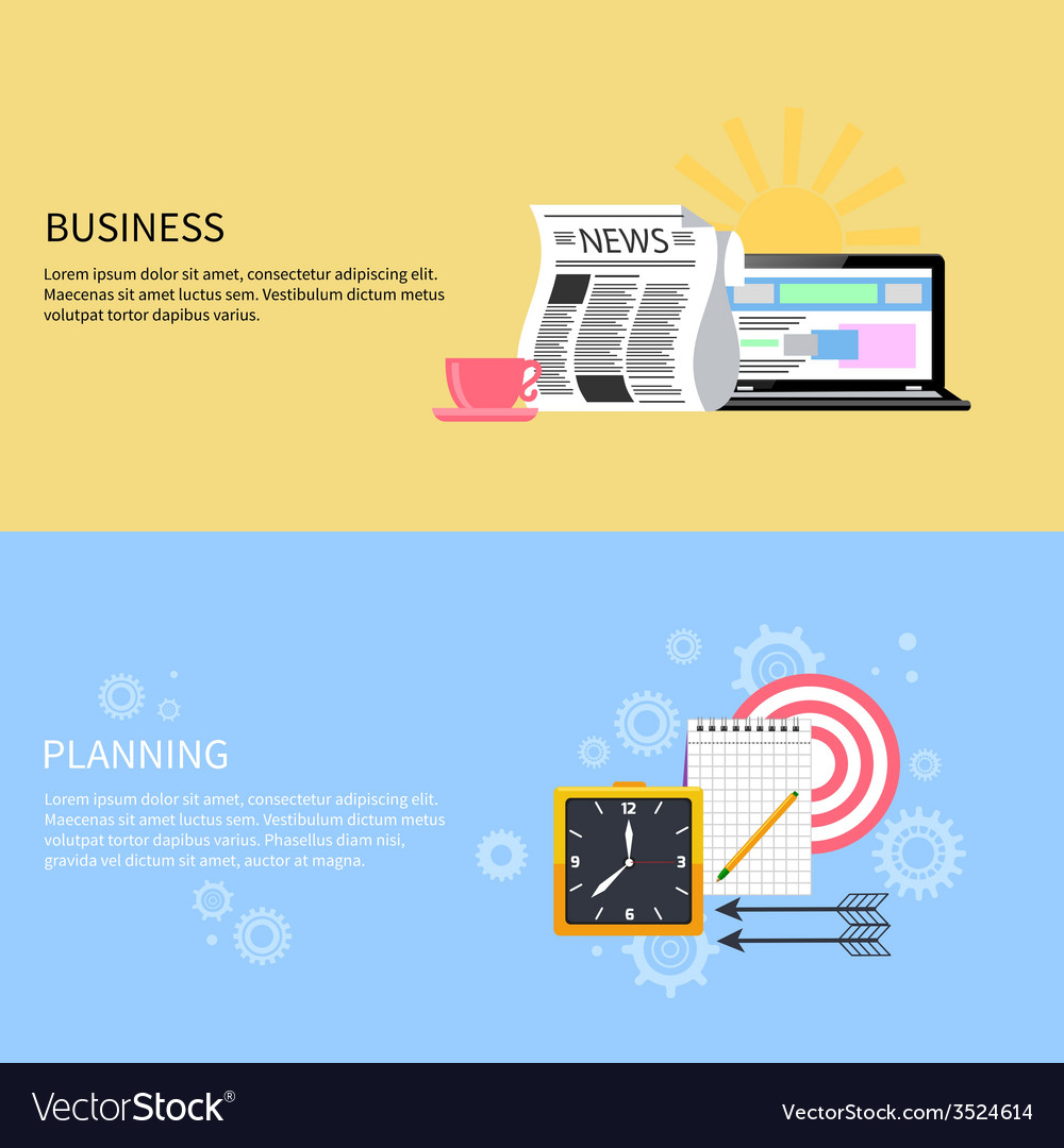 Business and office planning banners vector | Price: 1 Credit (USD $1)