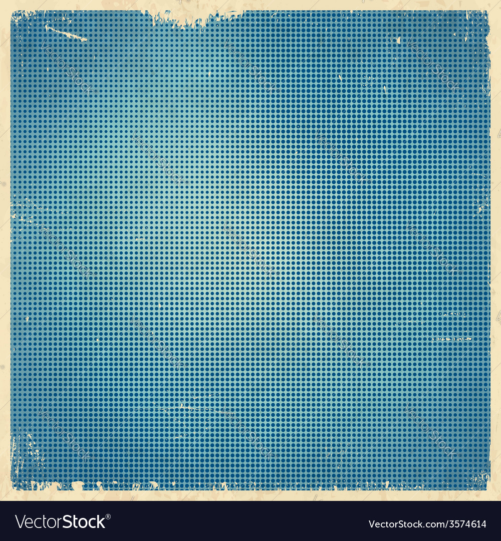 Halftone dotted blue retro card vector | Price: 1 Credit (USD $1)