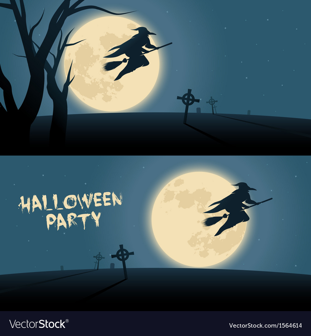 Halloween background with witch flying on a broom vector | Price: 1 Credit (USD $1)