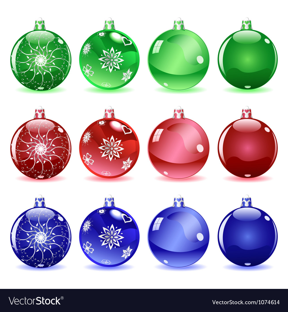Multicolored christmas balls set 1 of 4 vector | Price: 1 Credit (USD $1)