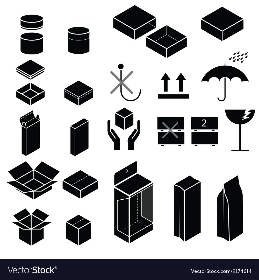 Packaging and fragile symbol vector | Price: 1 Credit (USD $1)