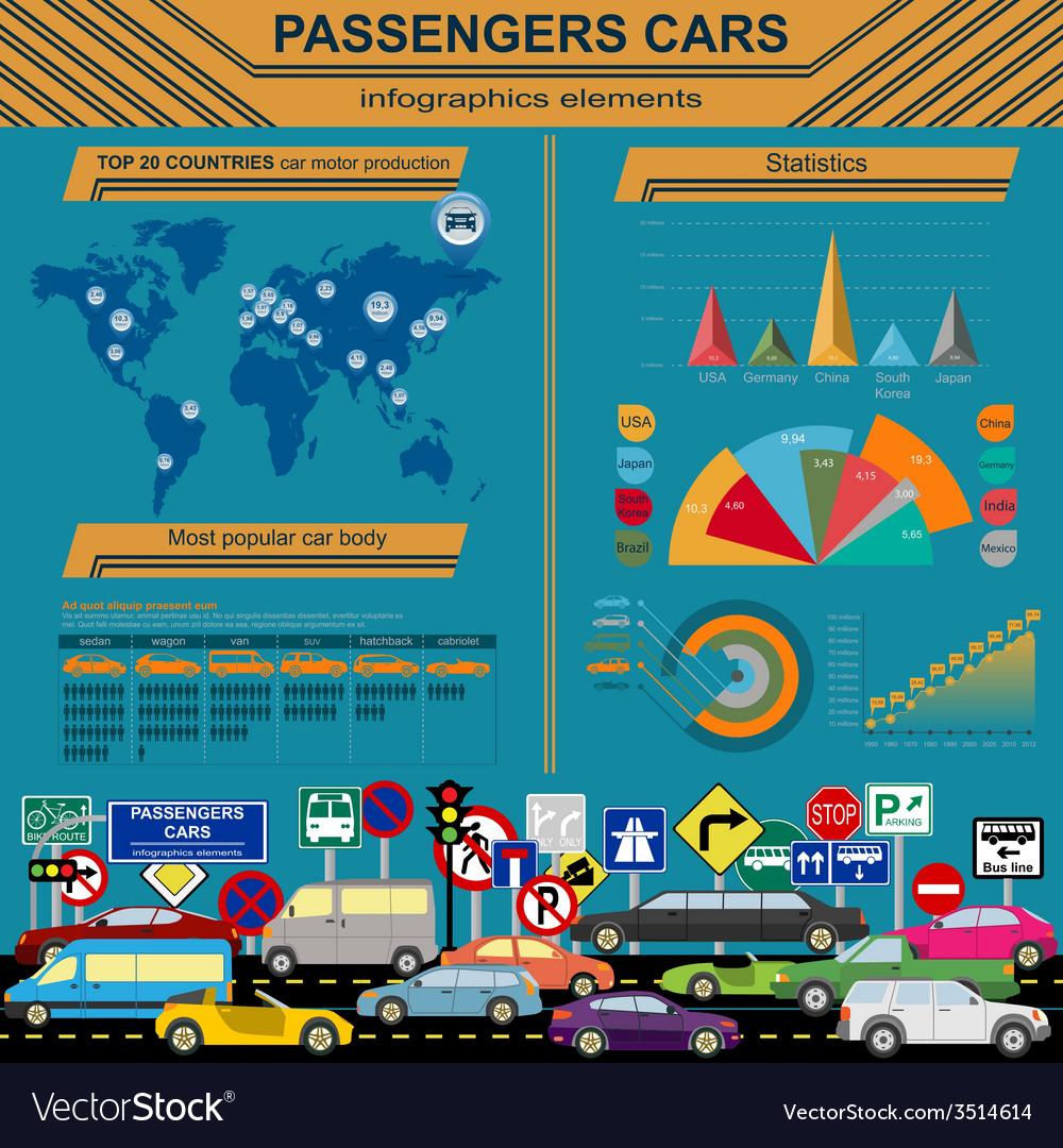 Passenger car transportation infographics vector   Price: 1 Credit (USD $1)