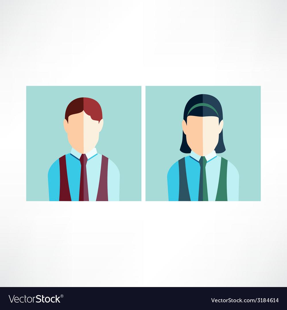 Schoolboy and schoolgirl icon flat vector | Price: 1 Credit (USD $1)