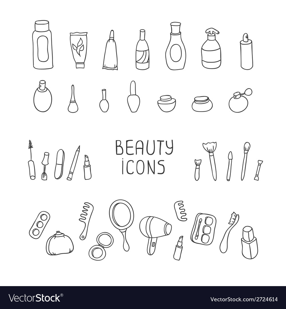 Set of vintage cosmetics elements and beauty vector | Price: 1 Credit (USD $1)