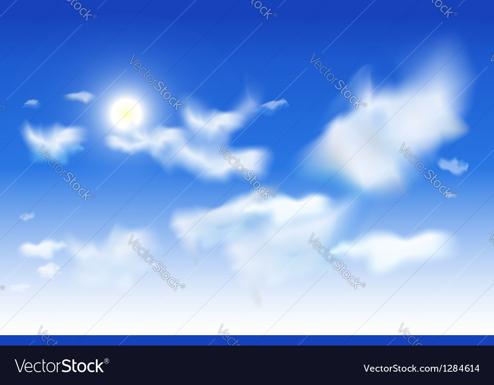 Sky background - white clouds and sun in blue sky vector | Price: 1 Credit (USD $1)
