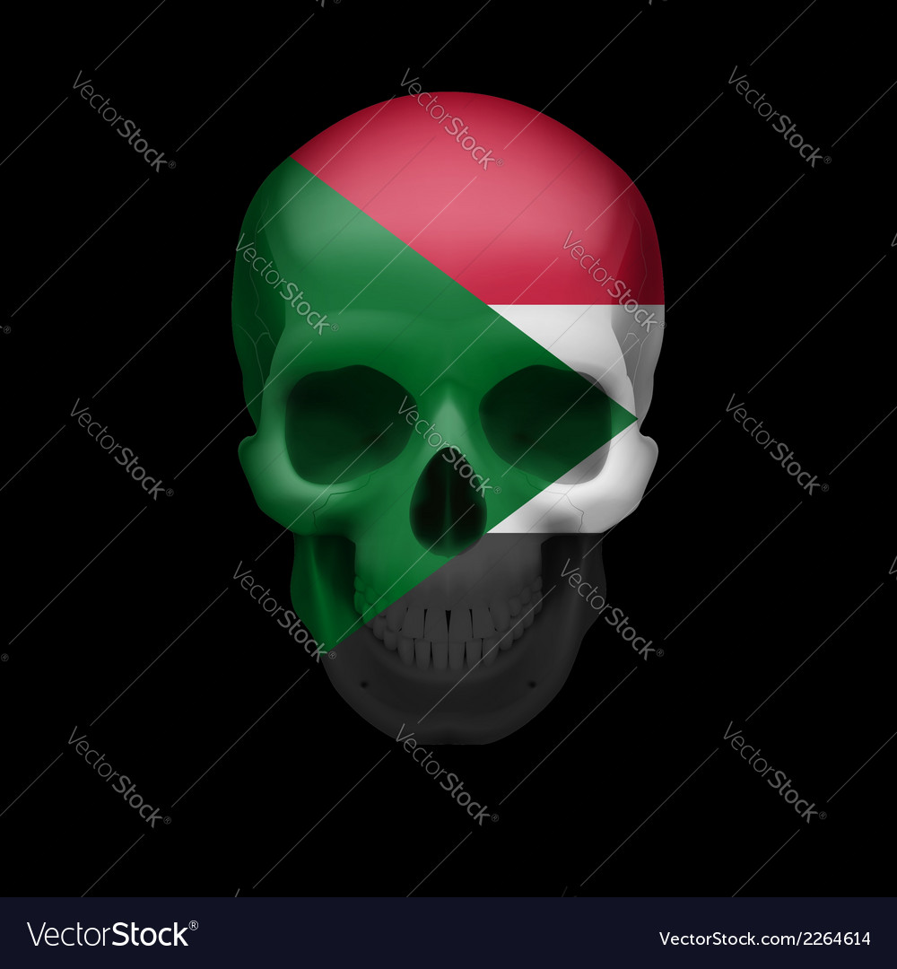 Sudanese flag skull vector | Price: 1 Credit (USD $1)
