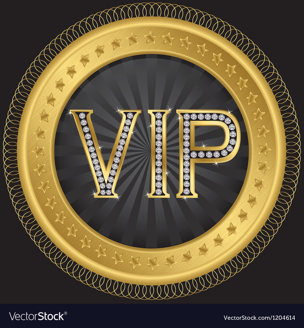 Vip golden label with diamonds vector | Price: 1 Credit (USD $1)