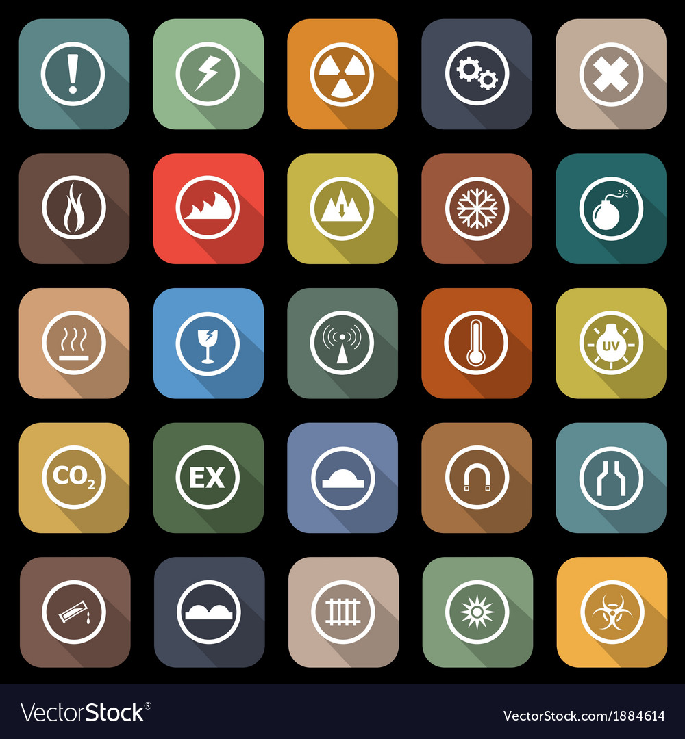 Warning flat icons with long shadow vector | Price: 1 Credit (USD $1)