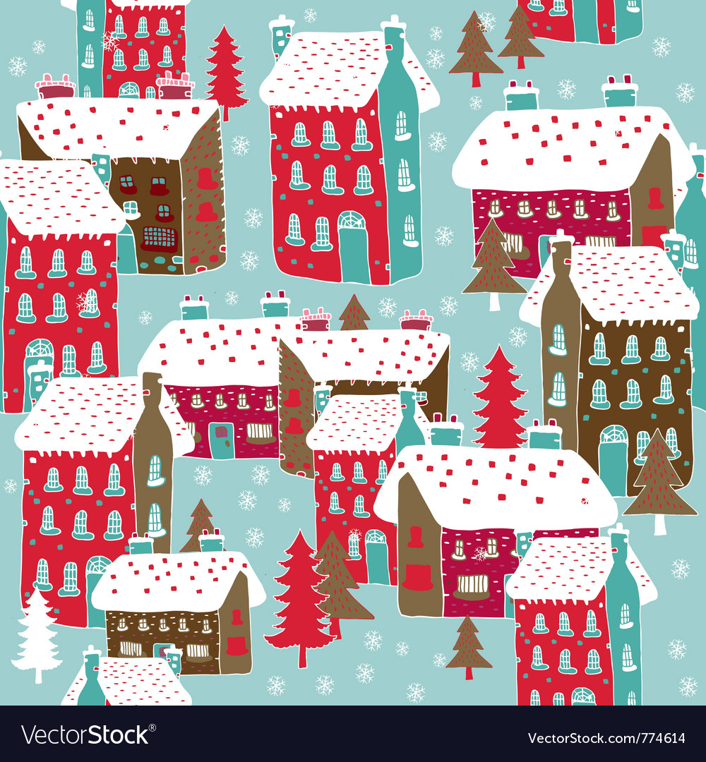 Winter township wallpaper vector | Price: 1 Credit (USD $1)