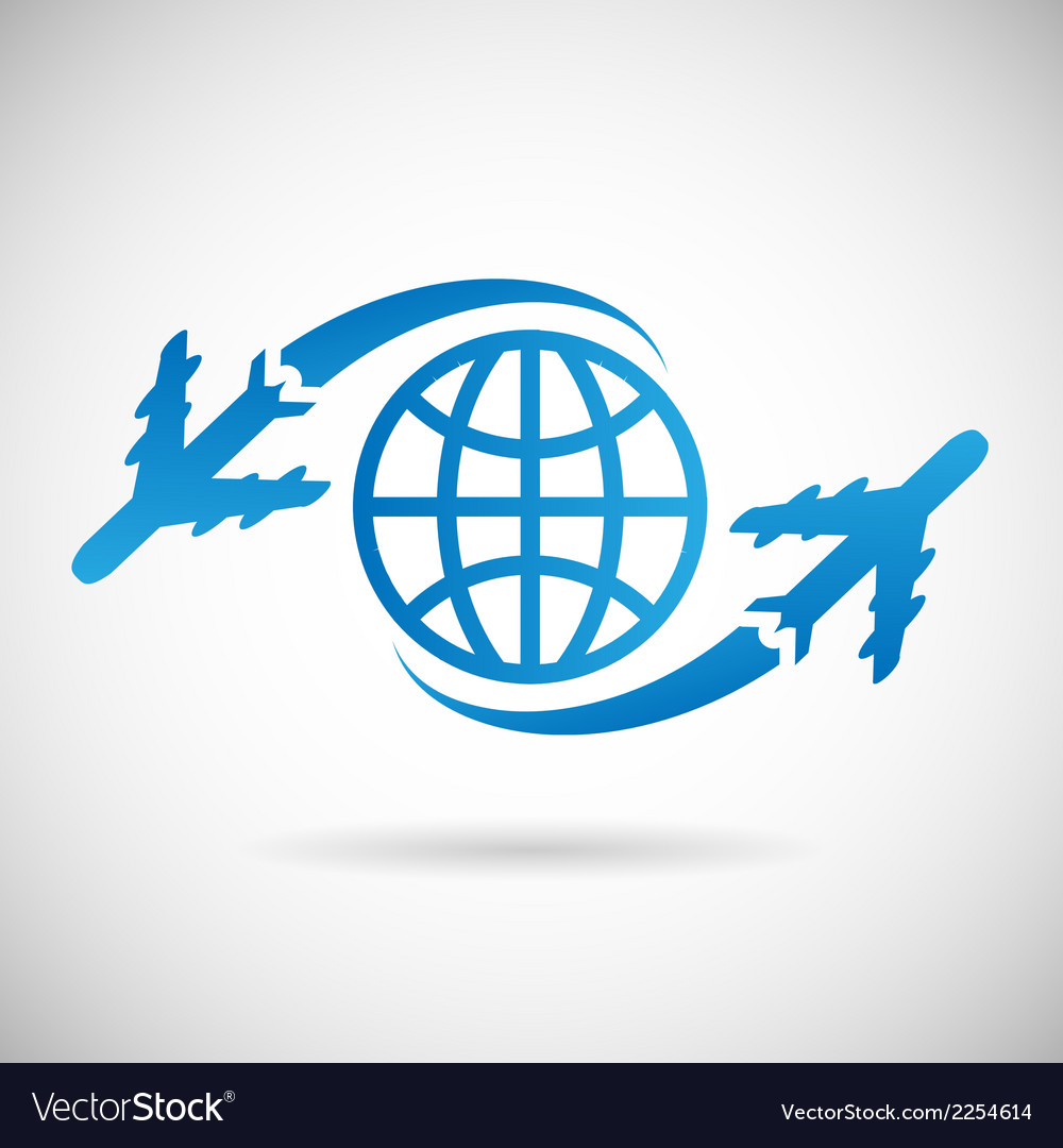 World travel symbol airplane and globe icon design vector | Price: 1 Credit (USD $1)