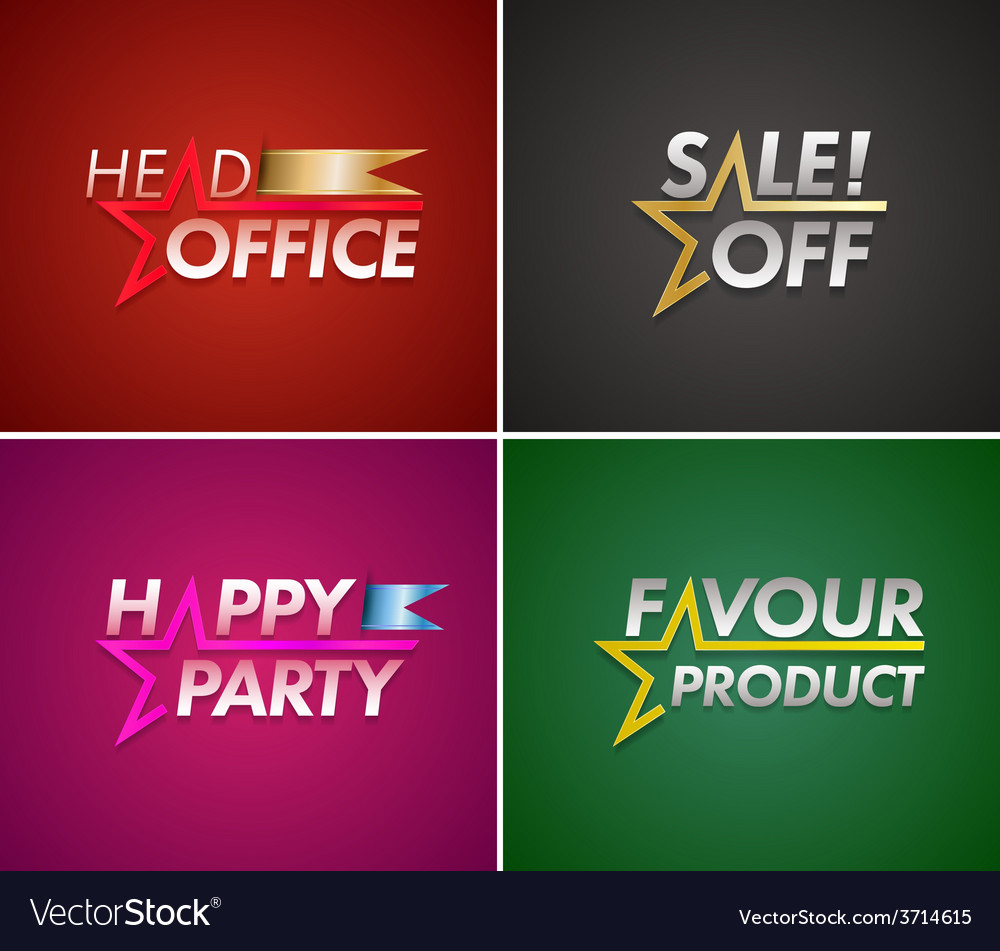 Banner set with star line vector | Price: 1 Credit (USD $1)