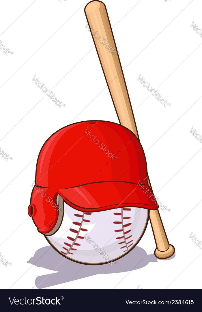 Baseballs ball with helmet and bat vector | Price: 1 Credit (USD $1)