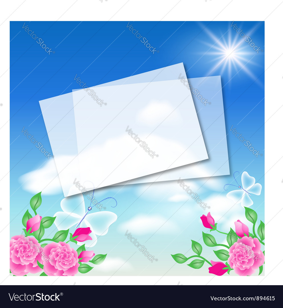 Floral background with note frame vector | Price: 1 Credit (USD $1)