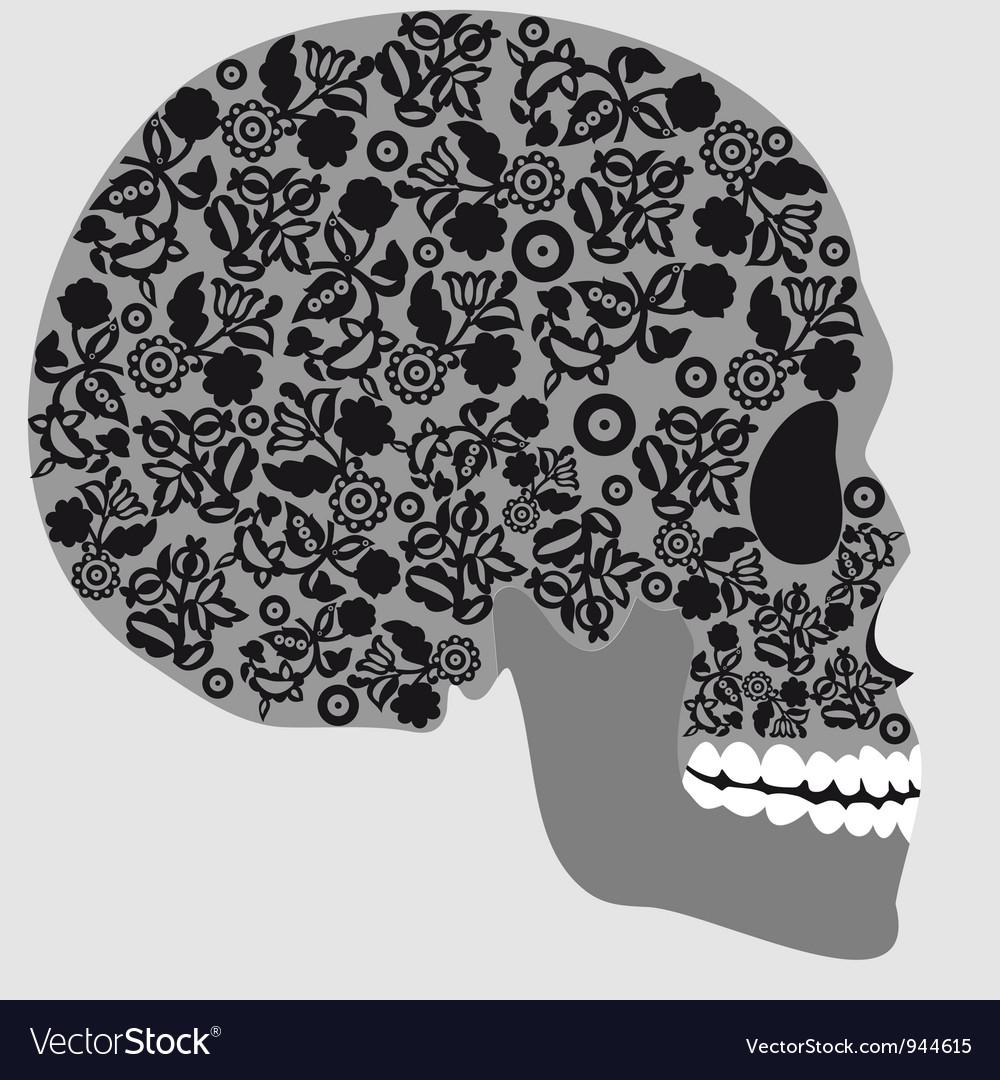 Floral skull vector | Price: 1 Credit (USD $1)