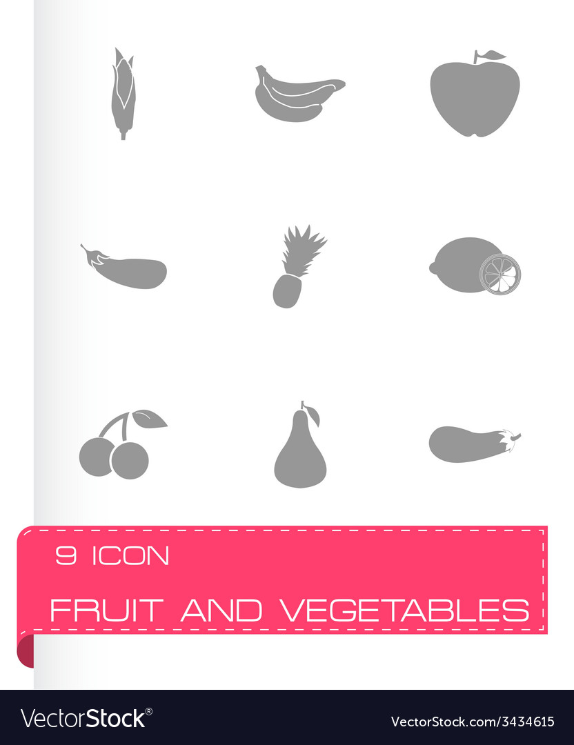 Fruit and vegetables icons set vector | Price: 1 Credit (USD $1)
