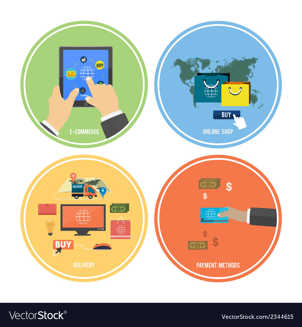 Icons for e-commerce delivery online shopoing vector | Price: 1 Credit (USD $1)