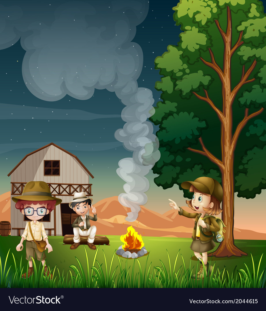 Kids near the campfire vector | Price: 3 Credit (USD $3)