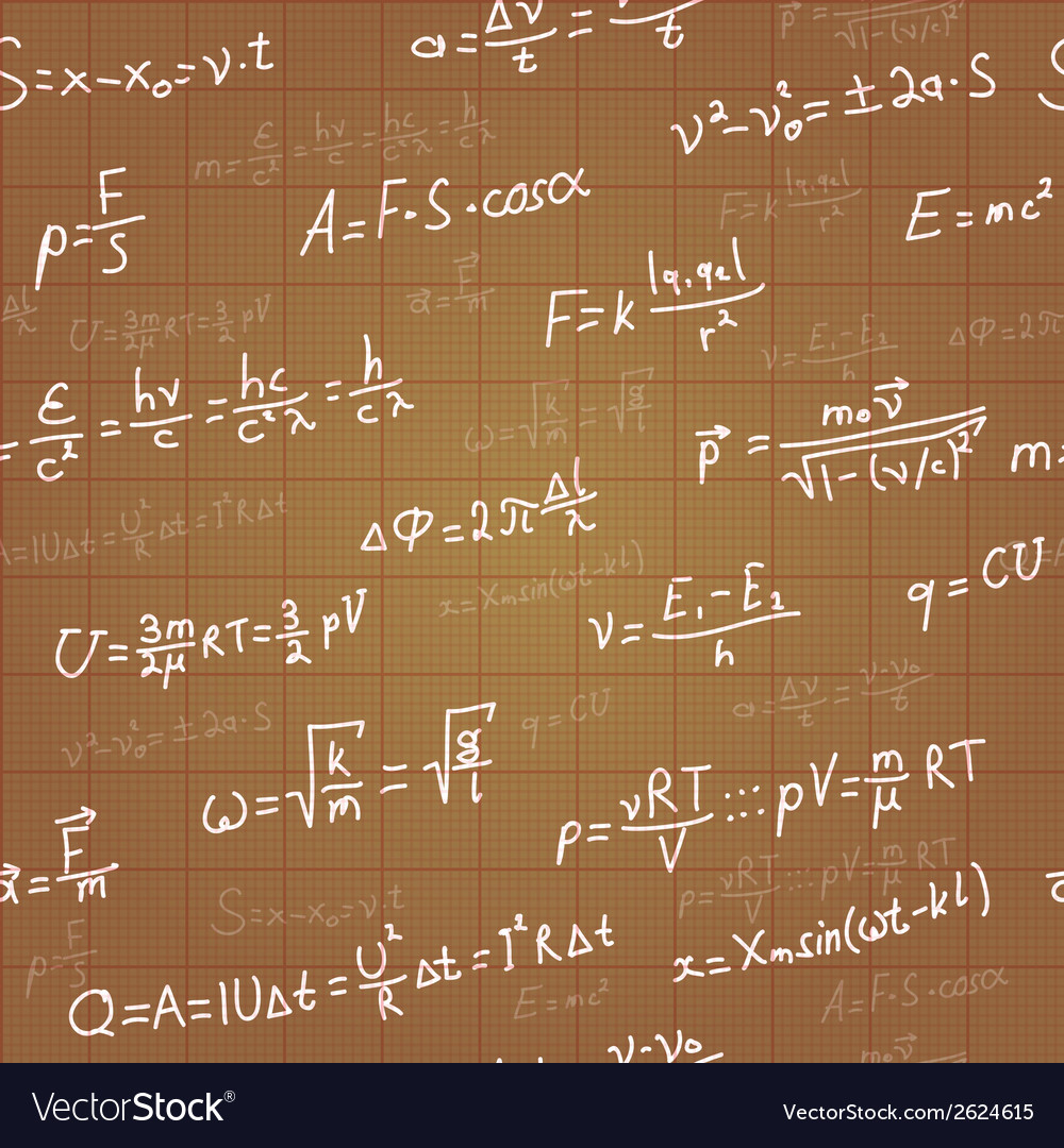 Physics formulas seamless pattern on brown vector | Price: 1 Credit (USD $1)