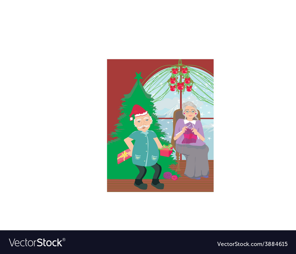 Senior couple spending the holidays at home vector | Price: 1 Credit (USD $1)
