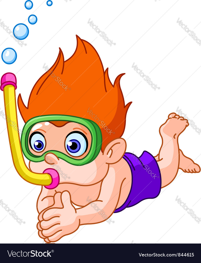Snorkeling kid vector | Price: 3 Credit (USD $3)