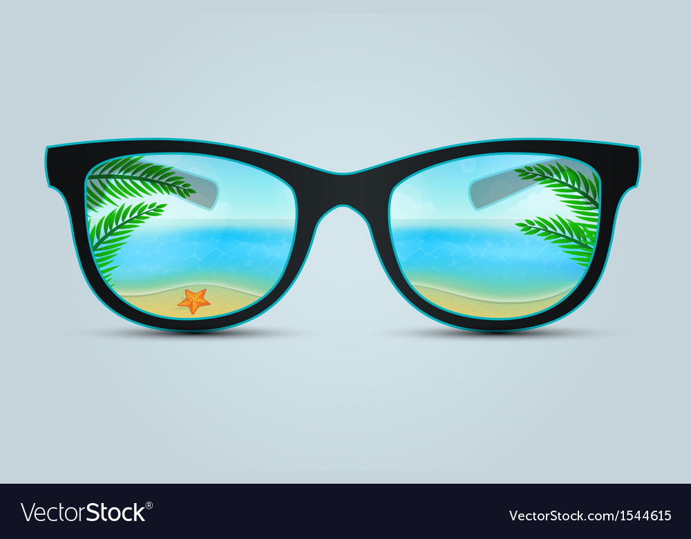 Summer sunglasses with beach reflection vector | Price: 3 Credit (USD $3)