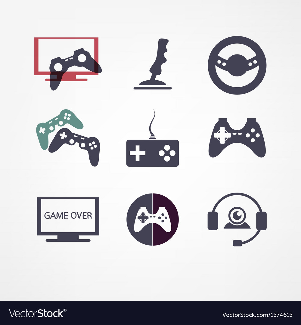 Video games icon set vector | Price: 1 Credit (USD $1)