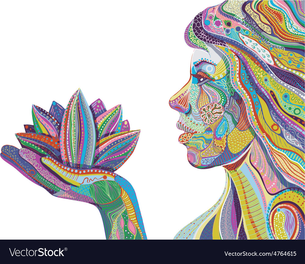 Woman with lotus flower bright ornate pattern vector | Price: 1 Credit (USD $1)