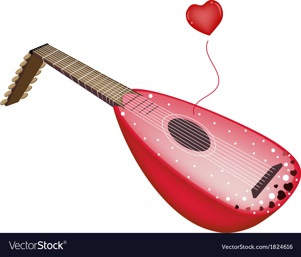 A beautiful antique lute playing love song vector | Price: 1 Credit (USD $1)