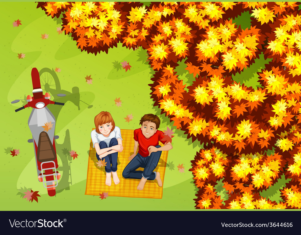 A couple at the park vector | Price: 3 Credit (USD $3)
