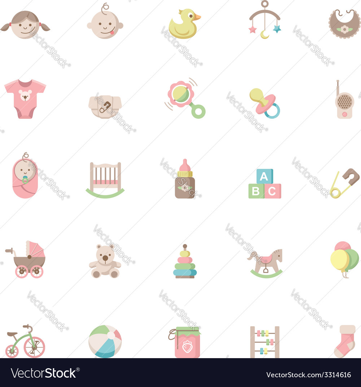Baby icon set vector | Price: 1 Credit (USD $1)